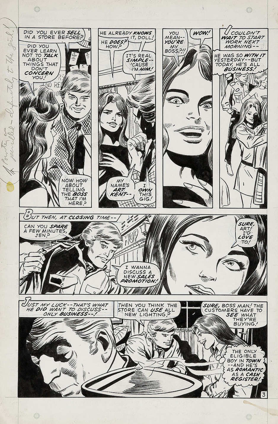 Gene Colan original art romance comic books