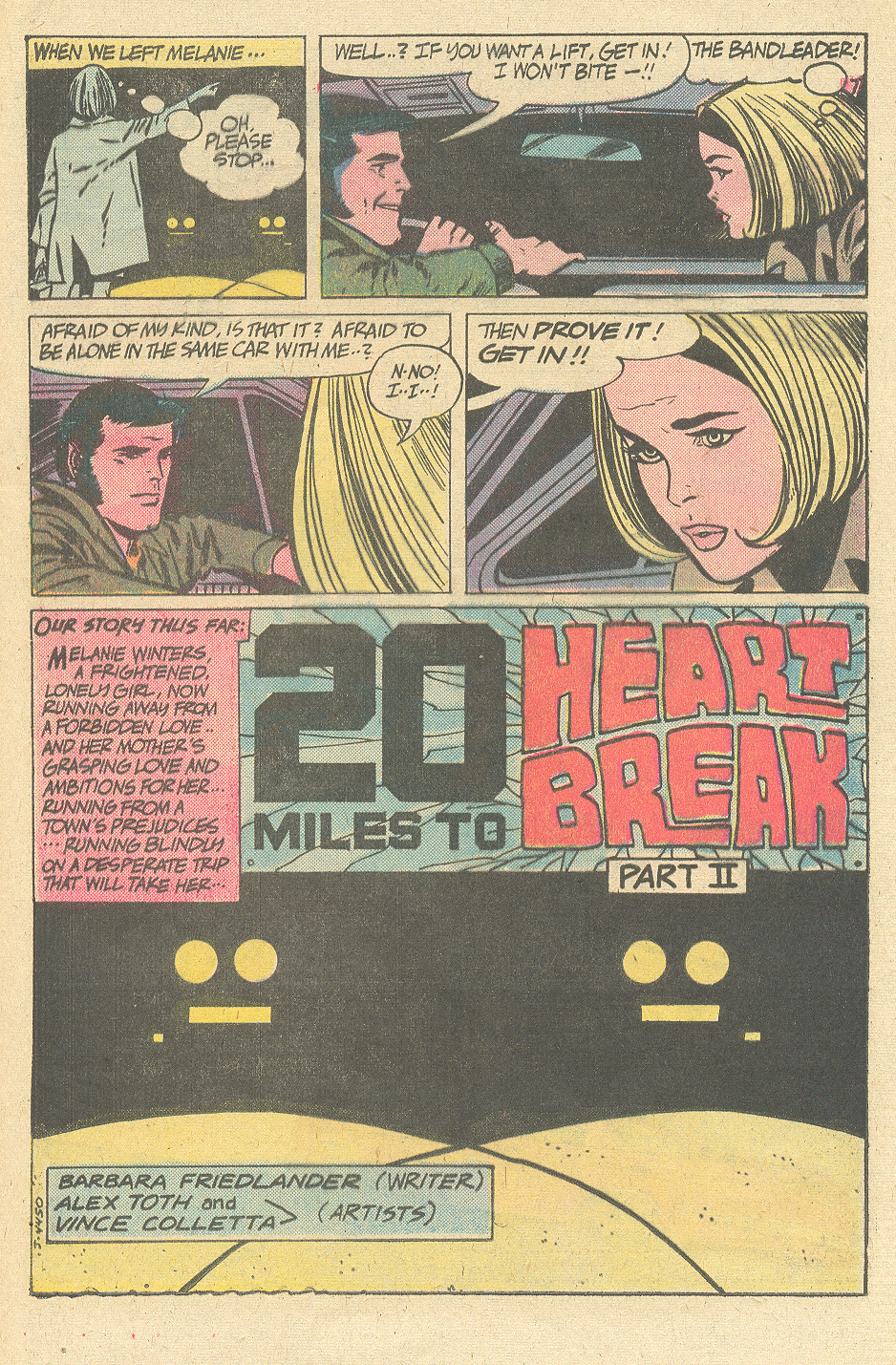 Secret hearts alex toth romance comic book series 20 miles to heart break