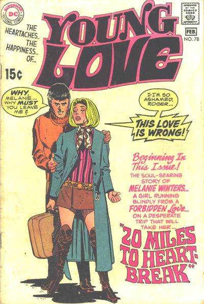 Young Love  #78 (January/February 1970) Cover image from the  Grand Comics Database
