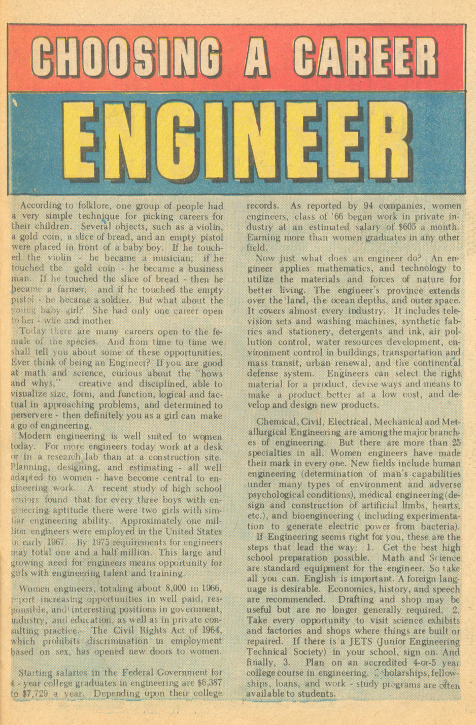 """Choosing a Career - Engineer"" Career Girl Romances #57 (June 1970)"