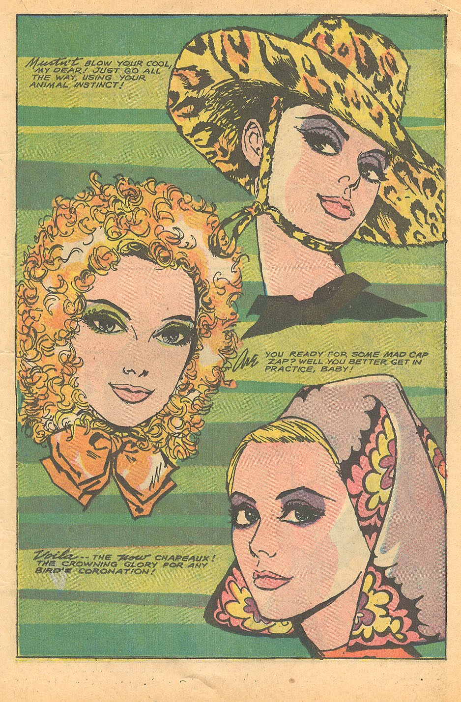 "Headgear for the ages by Tony Abruzzo ""Mad Mad Modes for Moderns""Heart Throbs #110 (October/November 1967)"