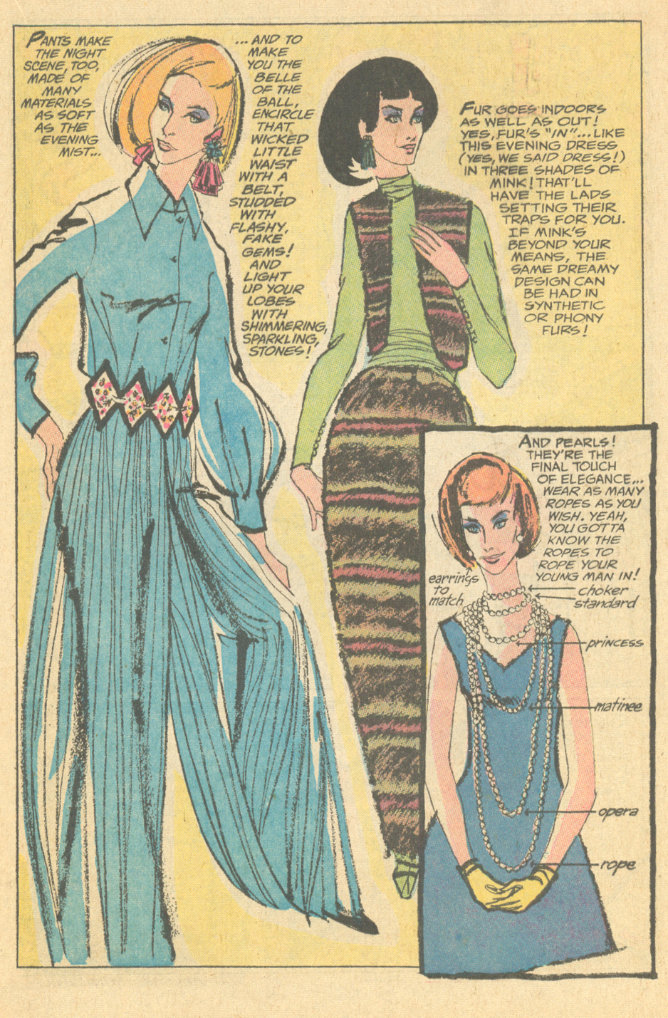 "Not sure what to wear to your upcoming New Year's Eve party? Take a few cues from ""Mad Mad Modes for Moderns"" as featured in Girls' Romances #146 (January 1970)!"