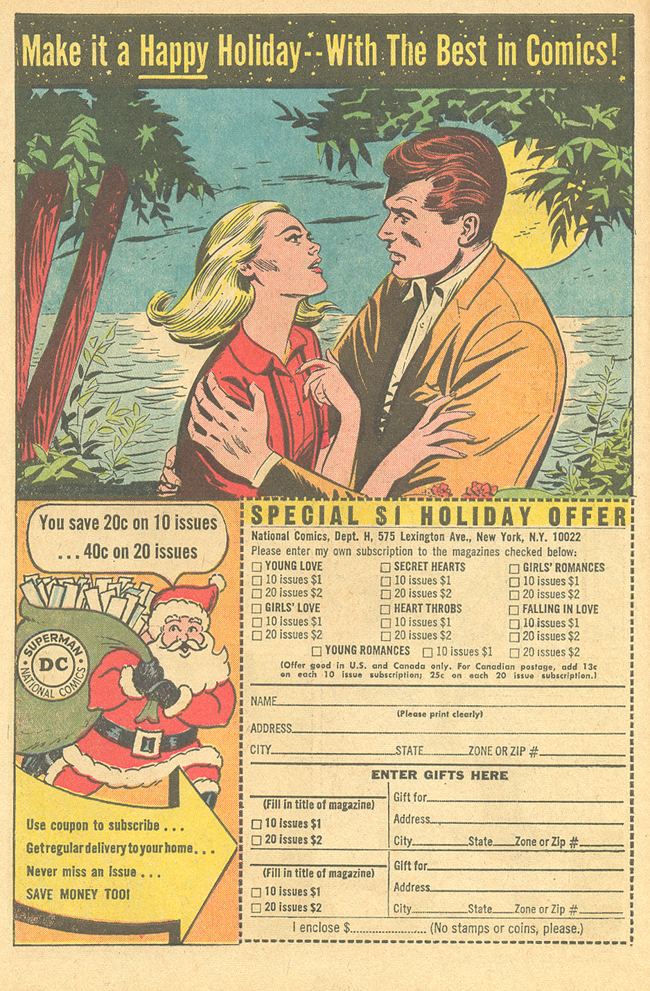 Holiday-themed house ad from DC's Falling in Love #74 (April 1965).