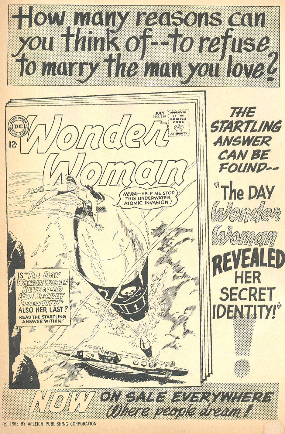 Wonder Woman Ad from Falling in Love #60 (July 1963)