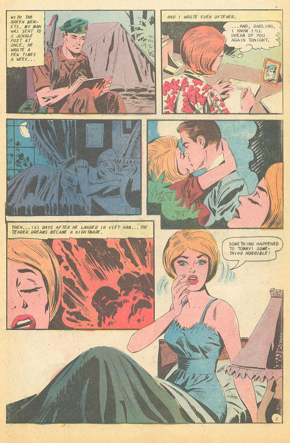 "Vietnam war romance story ""Saigon Kisses"" from Career Girl Romances #46 (August 1968)."