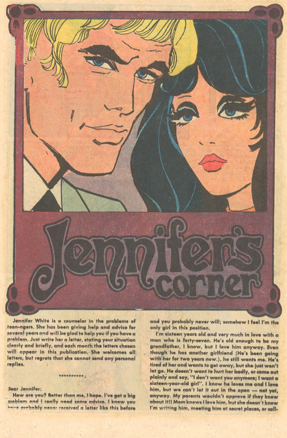 romance comic book advice columns