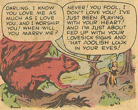 "One of the earliest sightings of a squirrel in a romance comic (well, by me at least) occurred in 1959 in ""And Then I Found You!"" Originally from  My Own Romance  #71 (September 1959) Reprinted in  My Love  #10 (March 1971)"