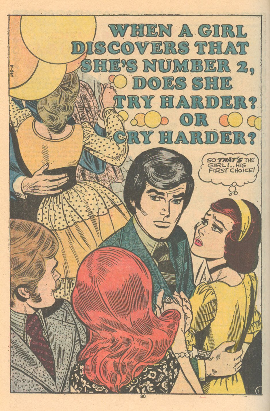 """When a Girl Discovers That She's Number 2, Does She Try Harder?   Or Cry Harder?""  Young Romance  #198 (March/April 1974)"