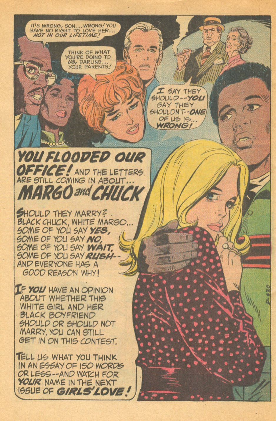 Interracial romance relationship in romance comic books DC Comics