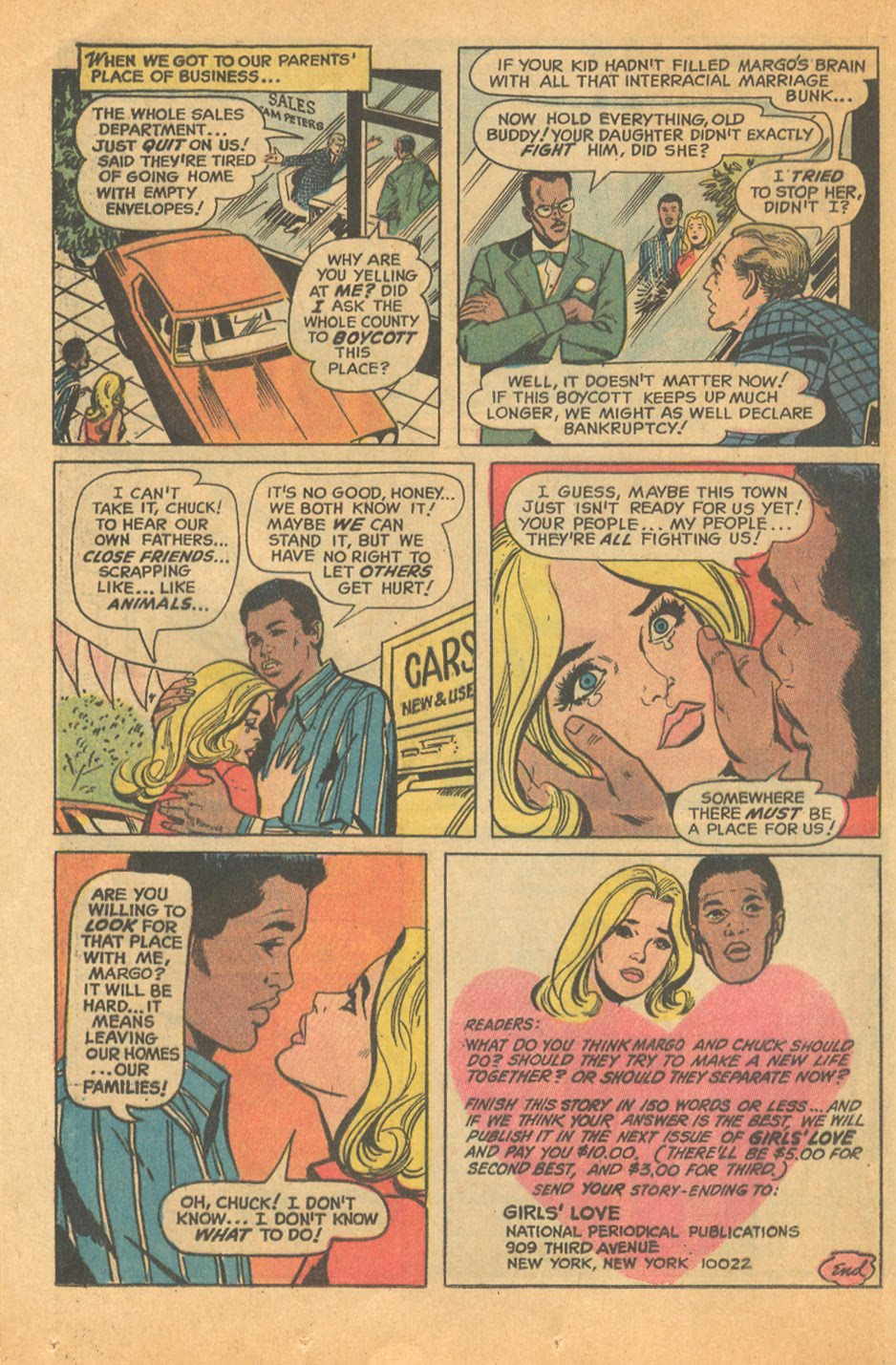 Interracial romance comic book story DC Comics Black and white