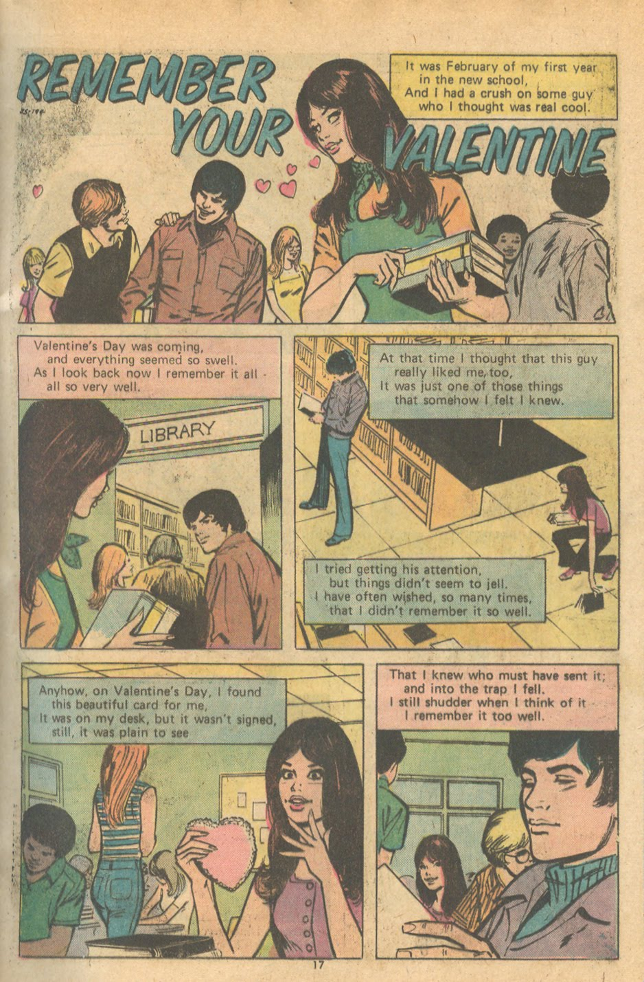 """Remember Your Valentine"" from Young Love #112 (November 1974) with art by the very romantic Winslow Mortimer"