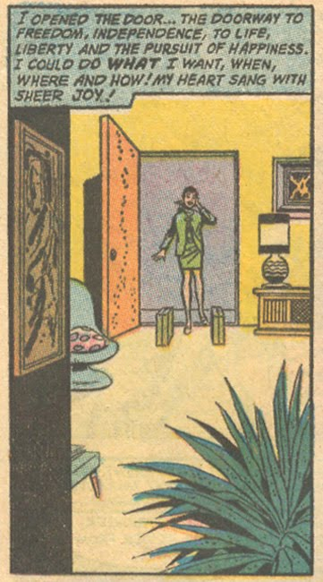 "Sweet freedom! (Just don't let Clarisse near that plant!) From ""Bachelor Girl!""  Falling in Love  #117 (August 1970)"