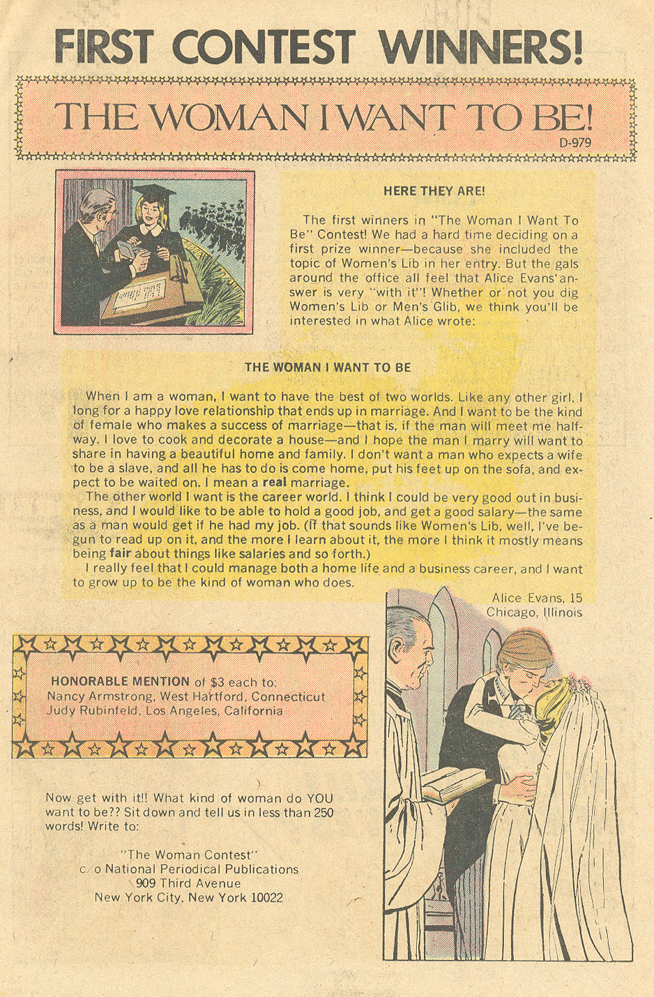 First contest winners  Falling in Love  #134 (July 1972)