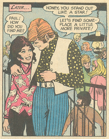 "She  stands out? From ""Cage of Love""  Young Romance  #173 (August 1971) Pencils and Inks: John Rosenberger"