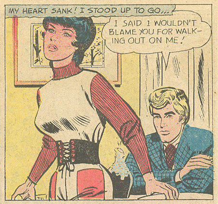 """I said I wouldn't blame you for walking out on me! ...but, I do blame you for that outfit."" From ""...the Man in my Life!""  Girls' Love Stories  #170 (June 1972) Pencils: John Romita (Retouched Reprint)"