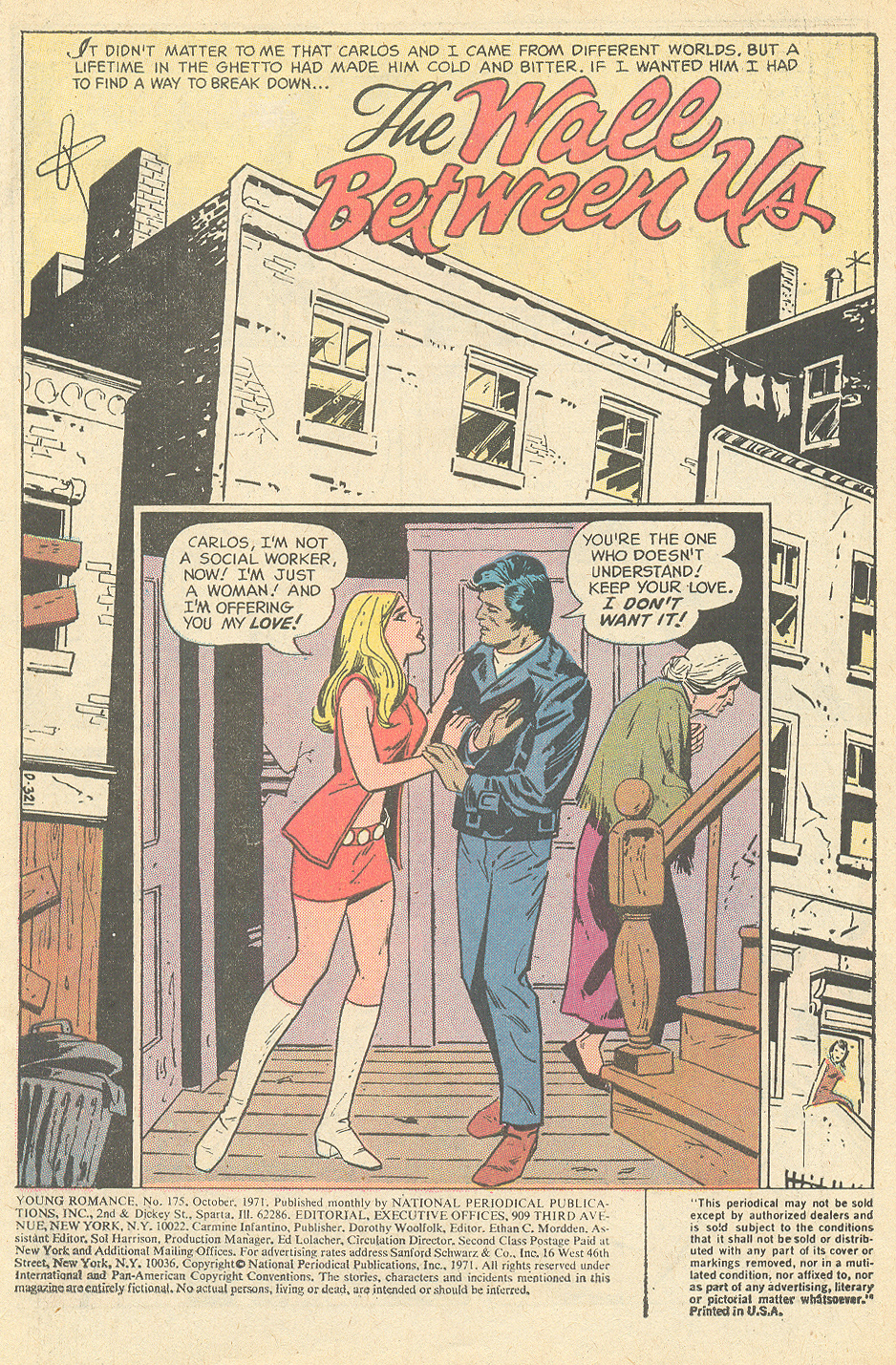 """The Wall Between Us""  Young Romance  #175 (October 1971) Pencils: Art Saaf, Inks: Vince Colletta"