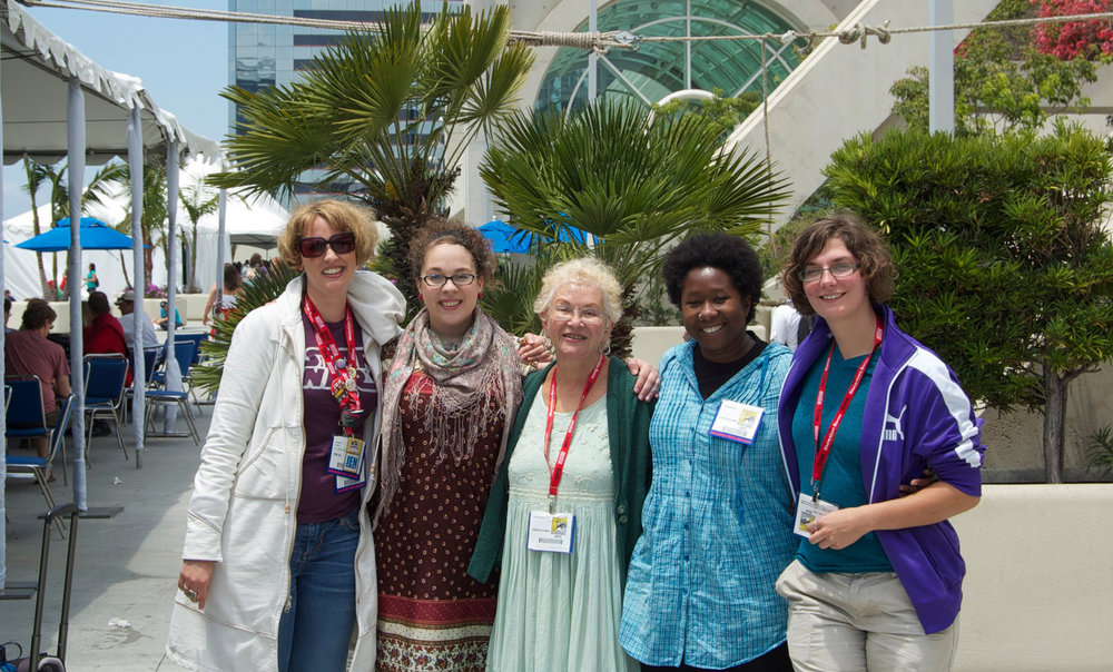 Annual Women Comics Scholars Meetup (From the left: Jennifer K. Stuller, Jacque Nodell, Trina Robbins, Candace West and April Murphy)