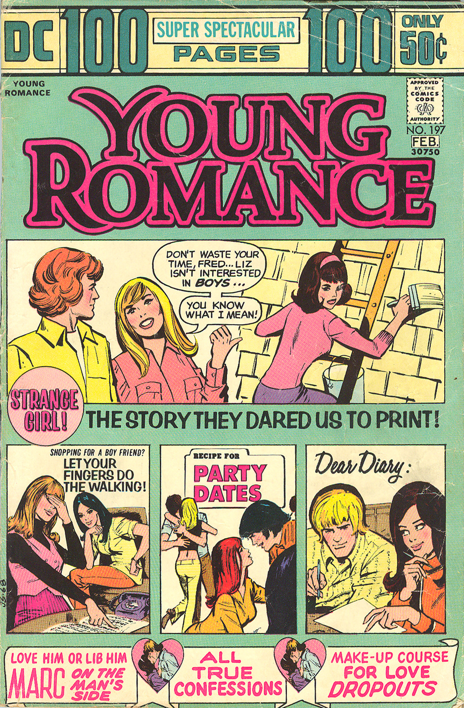 """That Strange Girl"" from Young Romance #197 (January/February 1974) Lesbian comic book queer characters in comics LGBTQ DC Comics Diversity"
