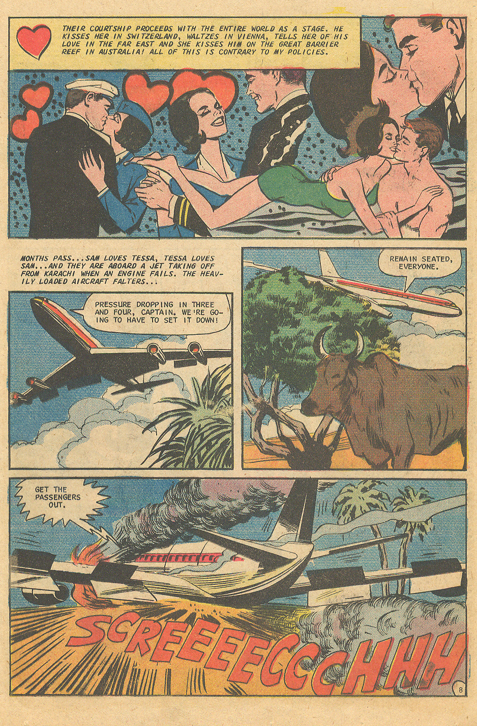 Stewardess Pan Am vintage comic book romance