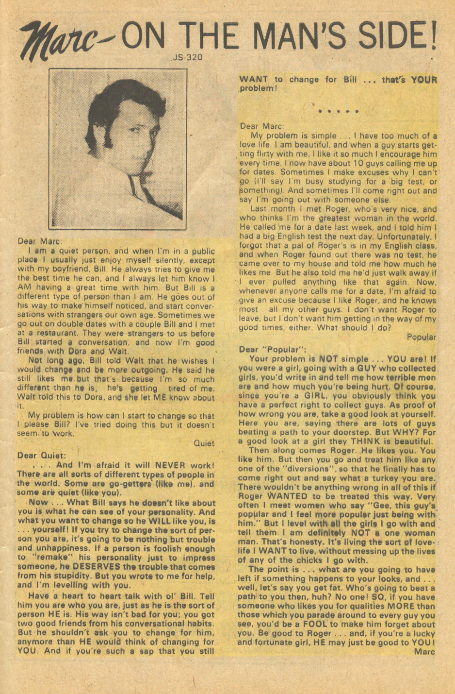 Original comic book advice page romance comics history Marc on the Man's Side