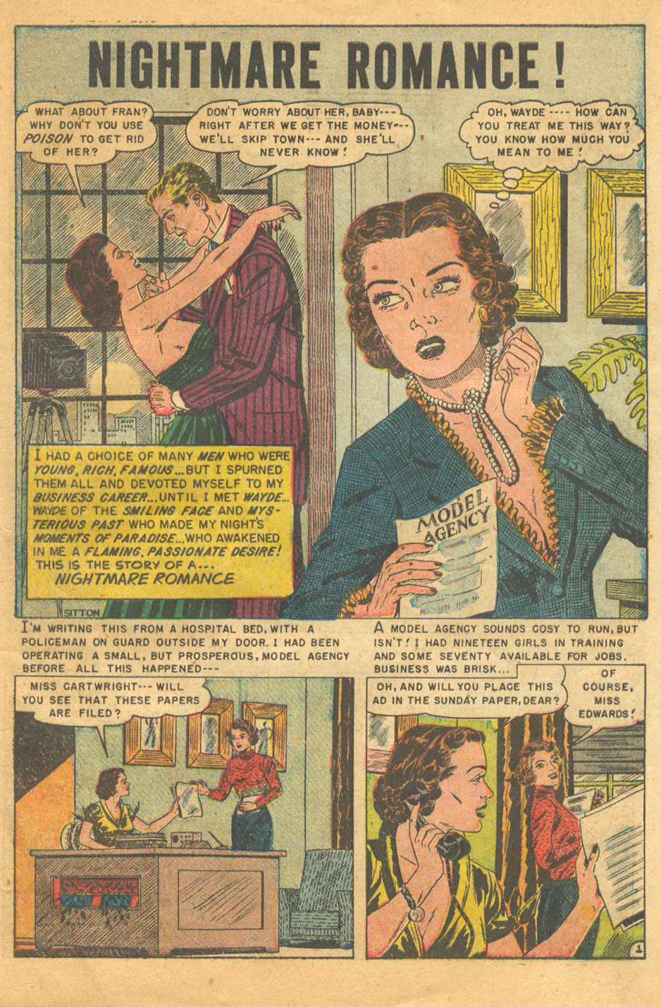 Vintage romance comic books sequential crush Avon's Romantic Love 1951
