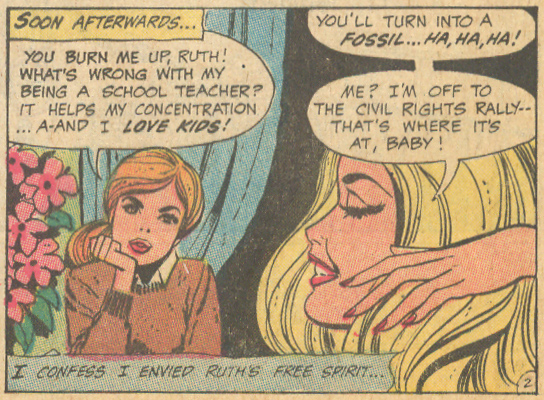 """My Double Love!""  Girls' Love Stories  #148 (January 1970) Pencils: Ric Estrada, Inks: Vince Colletta"