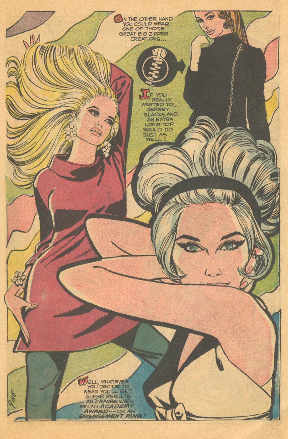 "Here's to starting the week off right with a gorgeous edition of ""Mad Mad Modes for Moderns"" from Falling in Love #98 (April 1968) by Jay Scott Pike!"