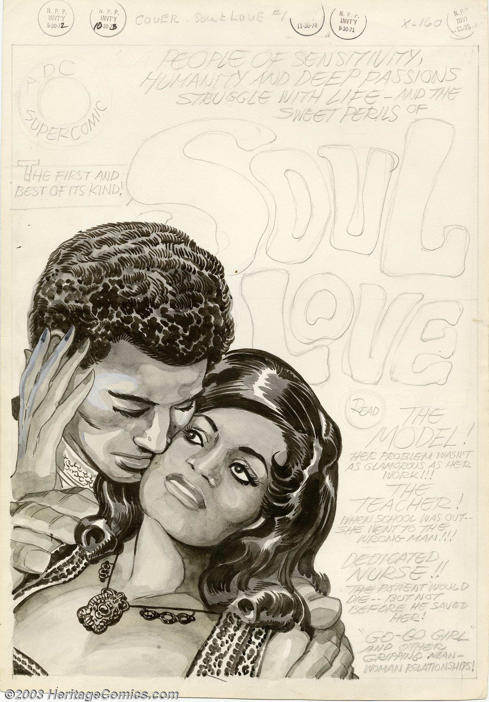 Cover of Soul Love #1 (Unpublished), Image from Heritage Auctions.