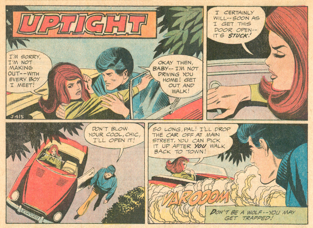 """Uptight""  Girls' Love Stories  #157 (February 1971), Script: Henry Boltinoff (Grand Comics   Database), Pencils: Win Mortimer, Inks: Jack Abel, DC Comics."