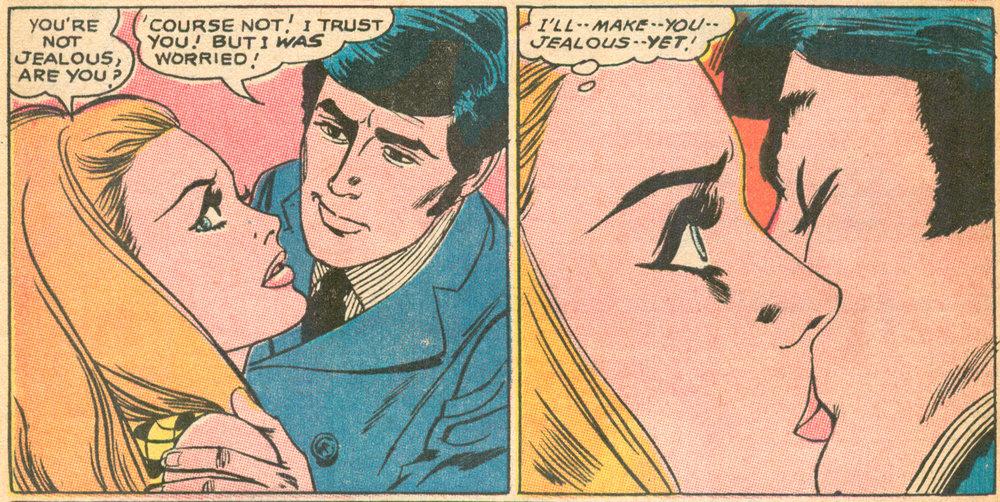 """""""I Confess"""" (part II)  Girls' Romances  #137 (December 1968), Script: Jack Miller (Grand Comics Database), Pencils and Inks: Tony Abruzzo, DC Comics."""