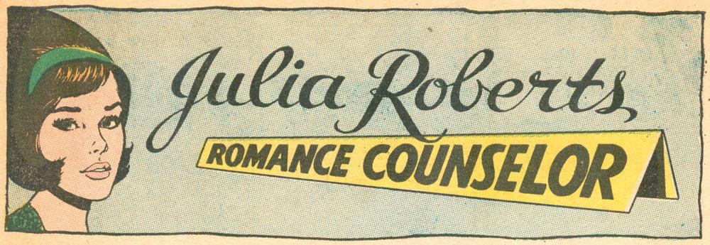 Julia Roberts banner, Girls' Romances  #137 (December 1968), DC Comics.
