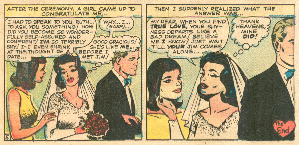 """Too Shy for Love!""  Love Romances  #94 (July 1961), Pencils: Paul Reinman (Grand Comics Database), Inks: Vince Colletta, Marvel Comics."