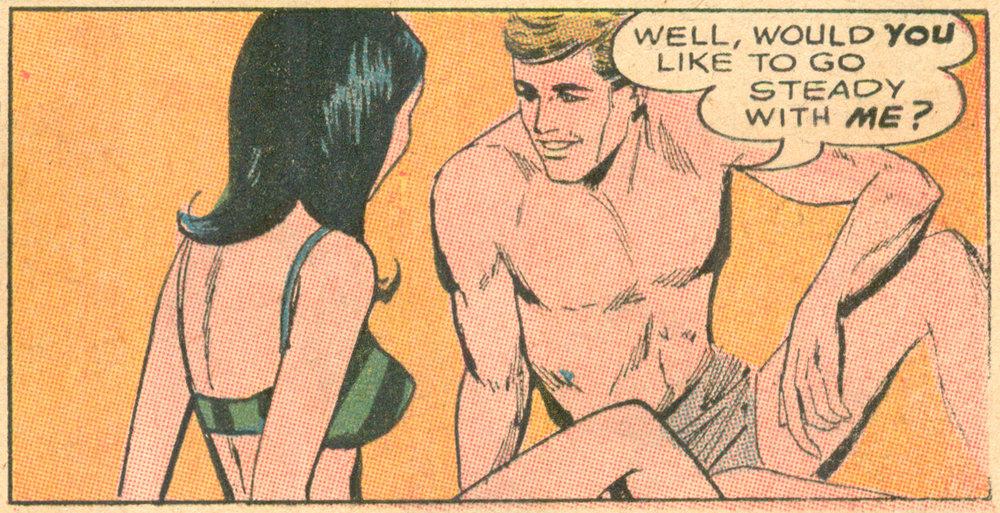 """""""Unworthy of Love!""""  Secret Hearts  #127 (April 1968), DC Comics."""