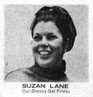 """Suzan Lane Our Groovy Gal Friday"" (bullpen photograph)  Fantastic Four Annual  #7 (November 1969), Marvel Comics. http://kirbymuseum.org/blogs/dynamics/2010/12/22/1960s-marvel-bullpen/"