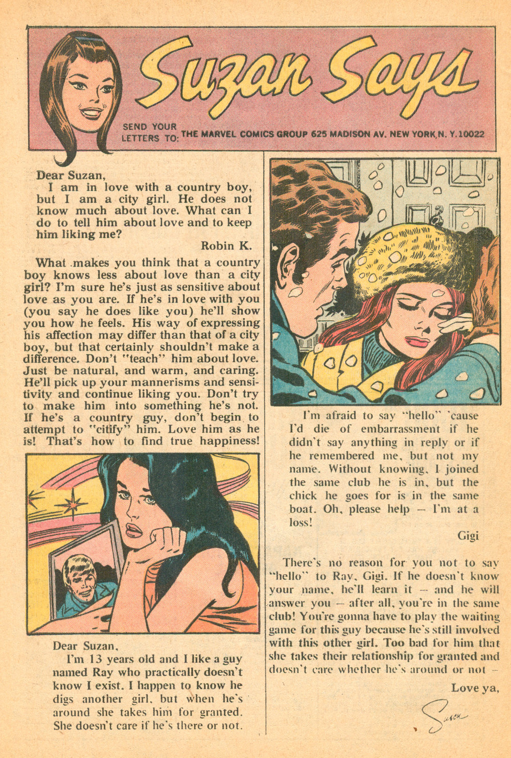 """Suzan Says""  Our Love Story  #10 (April  1971), Script: Suzan Lane Loeb, Marvel Comics."