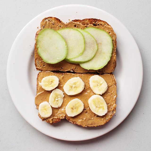 "My favorite, yet most simple option for breakfast is toast topped with pretty much any type of fruit and any type of ""butter"". I think my favorite combo is crunchy peanut butter w/ apples! 🍏🍌🥜 Make sure to use a wholesome seed or nut bread too! Happy Saturday! #nutritionthroughlife"