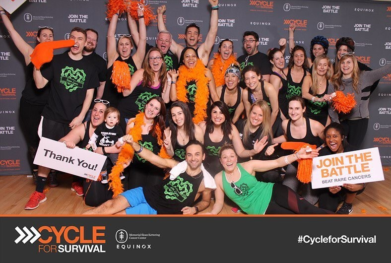 Kristin's team participating in Cycle for Survival New York City in 2017.