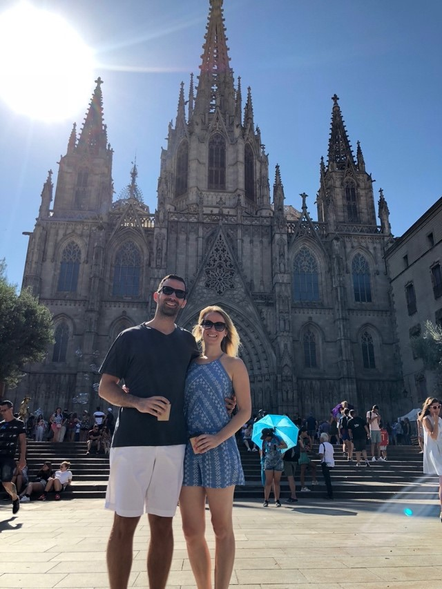 Kristin and her boyfriend visiting Barcelona.