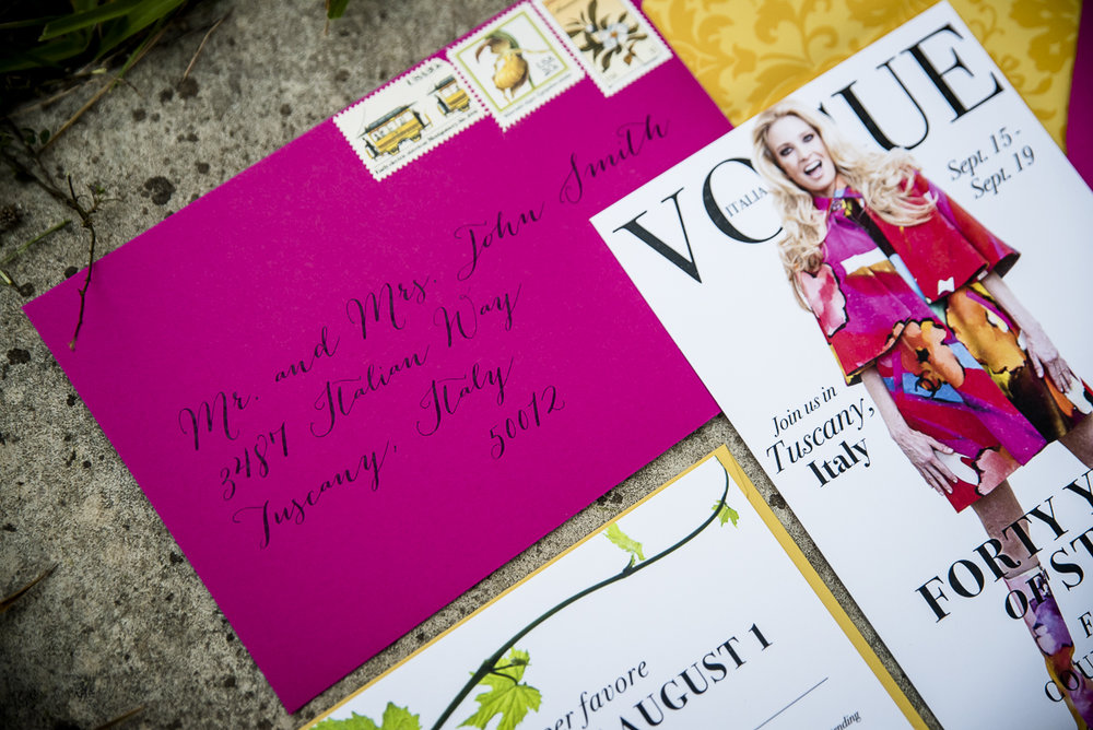 Stationary Details - Castello Di Casole, Italy - Fall Birthday - Julian Leaver Events