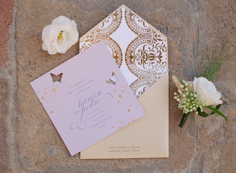 Stationary Details - Castello Di Casole,Italy - Summer Wedding - Julian Leaver Events