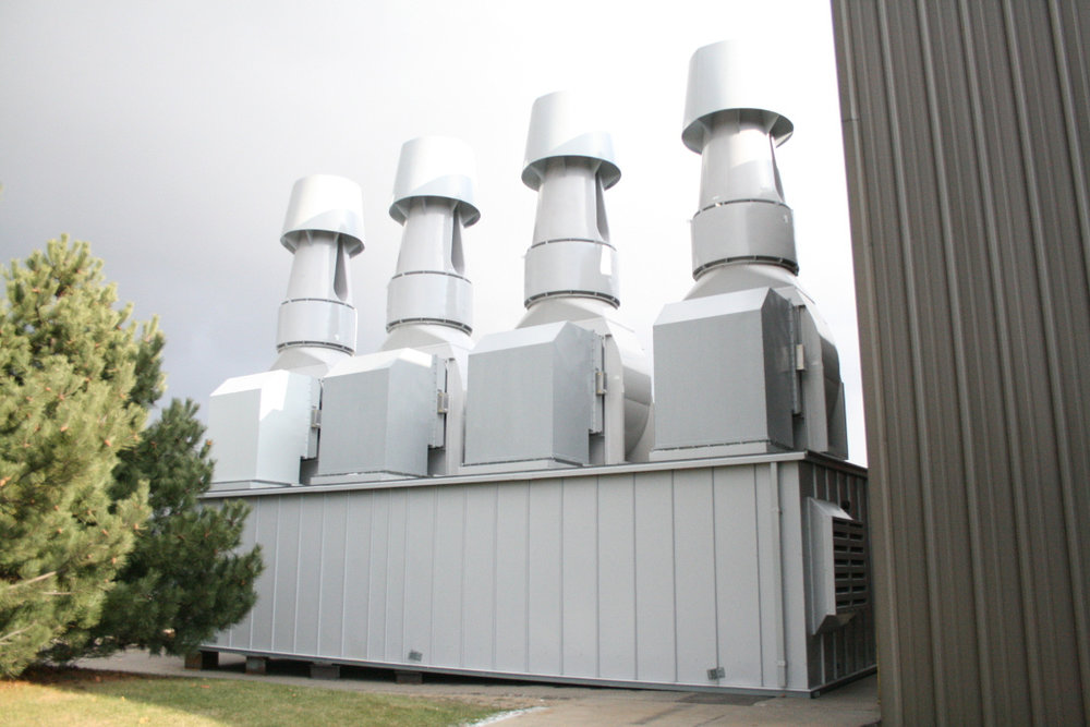 Custom 100,000 CFM Odor Abatement Exhaust System  These Systems Can Be Designed and Constructed to Include Energy Recovery Devices and Filtration Systems of Any Media or Efficiency.