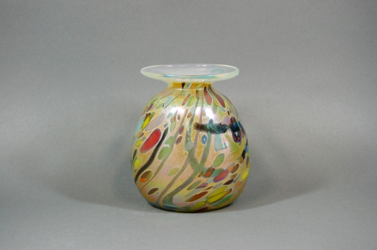 Amber vase with multi colored frit.