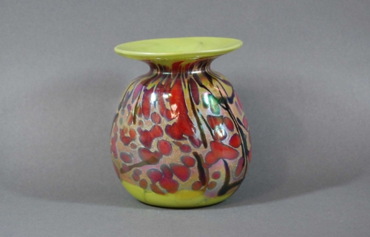 Lime vase with red frit.