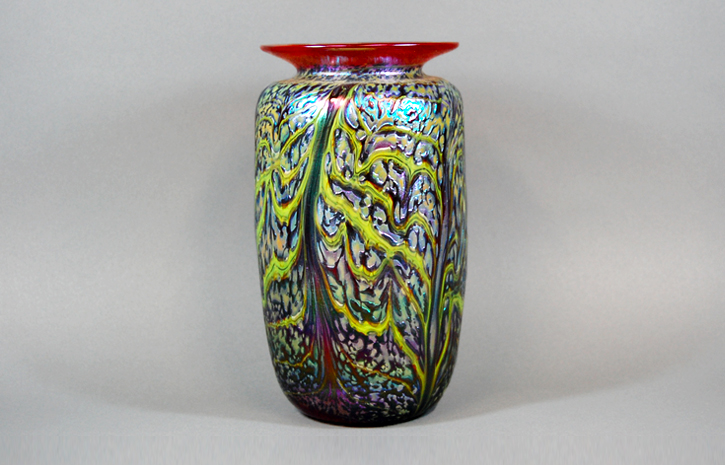 Cherry vase with lime green veining