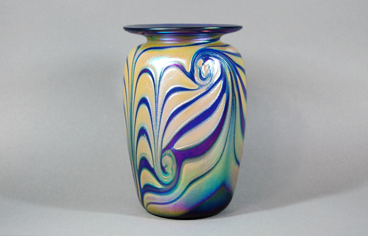 Cobalt vase with cobra striping