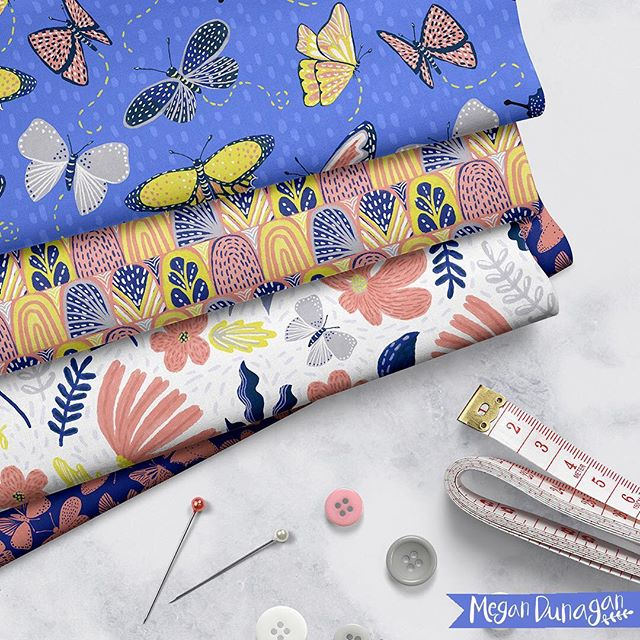 One of the mockups I (@megannicoledesigns) put in my #blurbbooks.  Would love this one to go on fabric or any outdoor decor!⠀ .⠀ .⠀ .⠀ #blueprintshows #surfacepatterndesign #artist #illustration #boltfabric #fabricbytheyard #butterflies #fabric #artlicensing