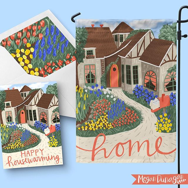 Love me an English cottage.  These would be great on flags or even a housewarming greeting card!  Art by @megannicoledesigns ⠀ .⠀ .⠀ .⠀ #blueprintshows #surfacepatterndesign #artist #illustration #birthdaycard #artlicensing #home #newhome #housewarming #housewarminggift