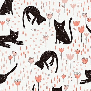 Who doesn't love a sweet black cat? Art by @betsy_siber  #surfacepattern #textiledesign #catsofinstagram