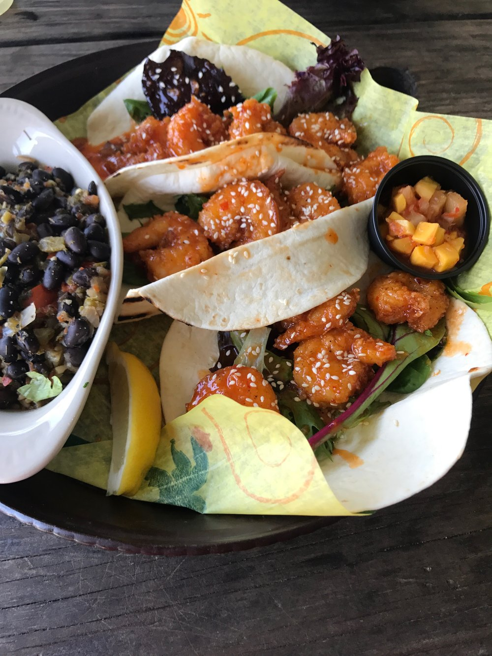 Shrimp Tacos with Caribbean Rice and Beans