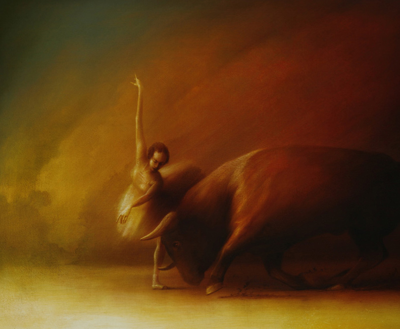 Bull and Ballerina ,  in production, 2018  The Bull and Ballerina oil on canvas by Peter Van Straten